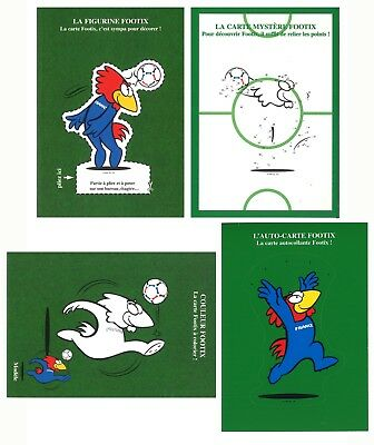 France 1998 World Cup Football Set of 4 Postcards Round Stamp & Mascot Motifs #1