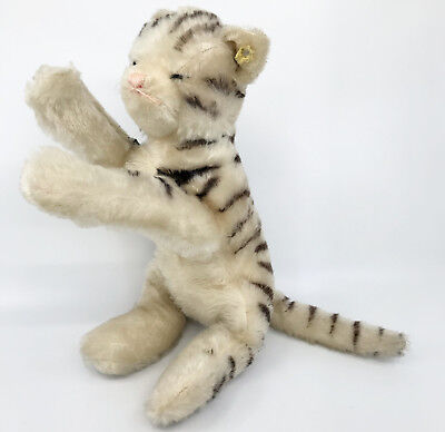 Steiff Floppy Tabby Cat Mohair Plush ID Button Tag 28cm 11in Bell in Paw 1960s