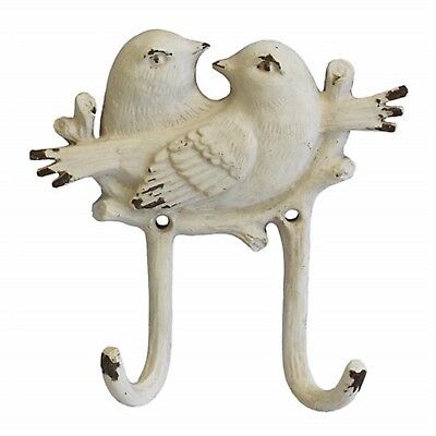 Hook Double Bird Doves White Shabby Chic DIY Country French Decor Decoration