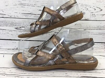 2680ee9e2962 BORN BOC Strappy Sandals Shoes Metallic Marbled Silver Bronze US 8 Womens