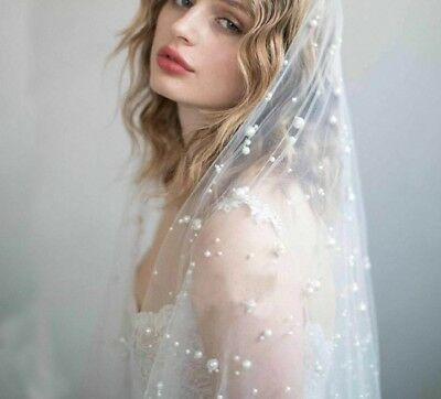 Fingertip Veil Pearls One Layer Cut Edge Beaded Wedding Hair Dress Accessory New