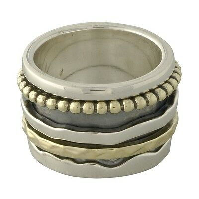 Brand New 925 Sterling Silver & Brass Wide Modern Spin Spinner Ring - size 5