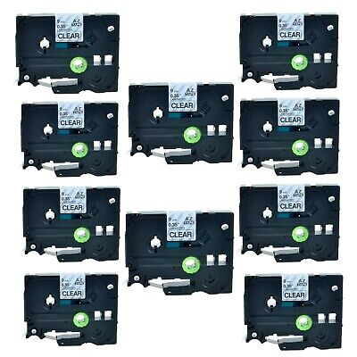 """10PK TZ121 TZe121 Black on Clear Label Tape For Brother P-Touch PT-2710 9mm 3/8"""""""
