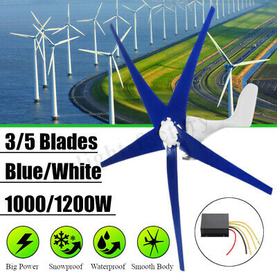 1000/1200W Wind Turbine Generator 12-24V 3/5 Blades Charge Controller Home Power