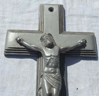 Antique French Cross 1930s galvanised Metal large churchyard Crucifix