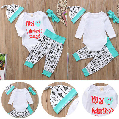 Baby Girl Boy My 1st Valentine's Day Outfits Long Sleeve Romper+Pants 4pcs Sets