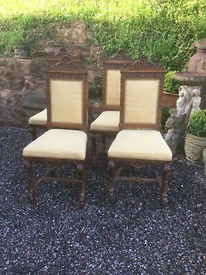 Antique Set Of 4 Carved Oak Dining Chairs Sn -73
