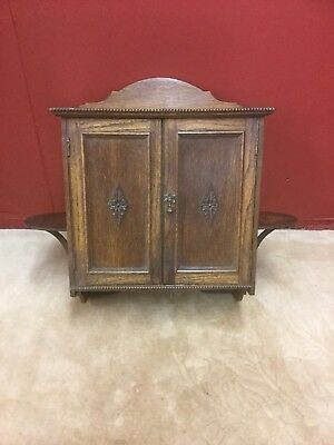 Antique Carved Oak Wall Cabinet / Shelves Sn-206