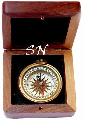 Nautical Brass Antique Compass Vintage with Hardwood Wooden Box Nautical