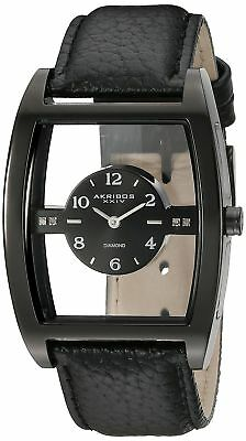 92e53bf4dea Akribos XXIV Men s AK820BK Quartz Movement Watch with Black Floating Dial  and Le