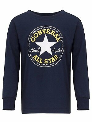 CONVERSE Boy's Chuck Taylor Long Sleeve Top Navy 8-10 Years