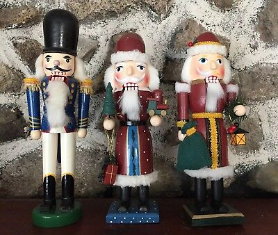 """Lot of 3 Christmas 12"""" Wooden Nutcrackers Holiday Decoration Vintage"""