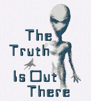 Machine Embroidery Design Quote X Files. Digital embroidery file Alien PES JEF