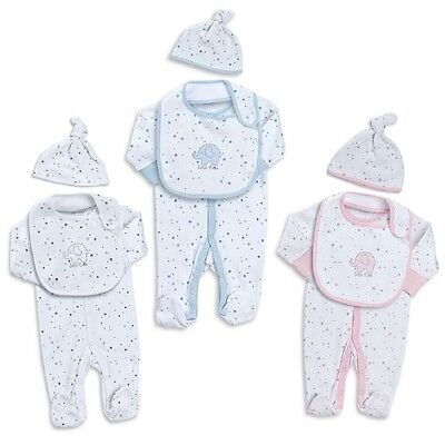Babies 3 Piece Sleeper / Babygro Set ~ Includes Hat and Bib ~ Newborn - 12 Month
