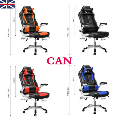 PC Desk Chair Racing Office Bucket Adjustable Swivel PU Gaming Seat Computer UK