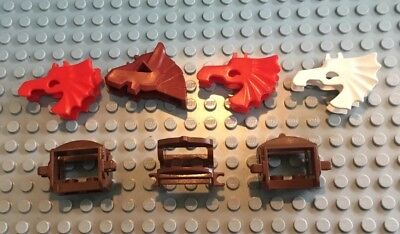 Lego Lot Of Horse Accessories / 3 Saddles / 4 Battle Head Gear