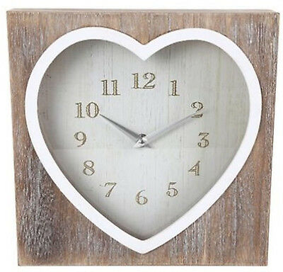 Lime Wash Heart Clock Vintage Shabby Chic Wooden Square Mantle Mantel Wall Clock