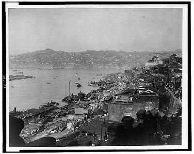 Waterfront of Chungking,Chongqing Harbor,China,January 15,1944,buildings