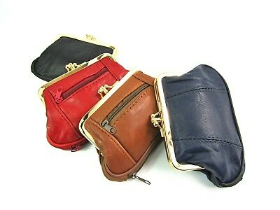 Ladies Small Super Soft Real Leather ClipTop Purse Wallet Coin Change Pouch