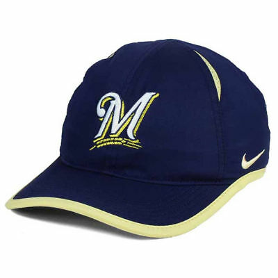 a0475ca47b3ff Milwaukee Brewers Nike MLB Featherlight Dri-Fit Adjustable Cap Hat Baseball  Uni