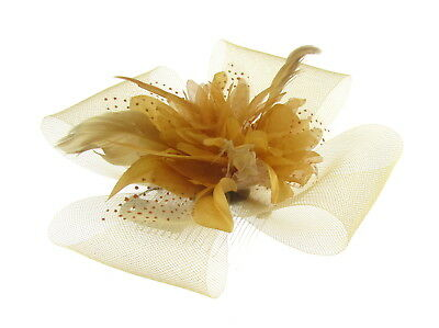 Gold mesh flower & feather fascinator comb for Ascot , Races, Weddings, Ladies