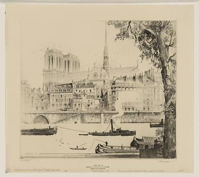 Notre Dame de Paris,France,Cathedral,1925,John Taylor Arms,Boats,Canal