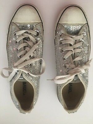 cc0f2cad0615 Converse All Star Pink Silver Glitter Sequin Low Top L Sneakers Size 7