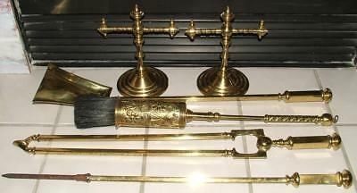 Antique Brass Fireplace Tool Set Hearth Brush Fire Irons Dogs Andirons C. 1870