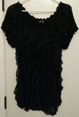 e9f0deabe37 Objects D art Womens Black Plus Size 1X Layered Ruffel Sheer Short Sleeve  Blouse