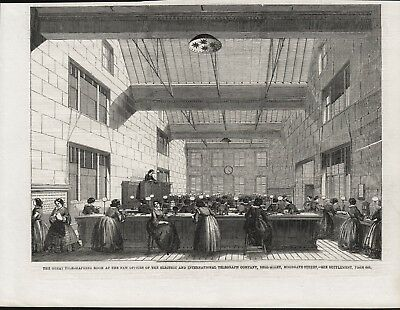Old 1859 Print Telegraphing Room Electric Telegraph Company Moorgate Street S11