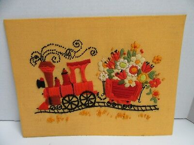 Crewel Embroidery Flower Train Finished Completed 11x16 Choo Choo Vintage