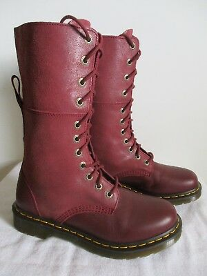 f45ae3a3418 DR MARTENS HAZIL Cherry Red Leather Combat Boots Womens US 9 UK 7 EU ...