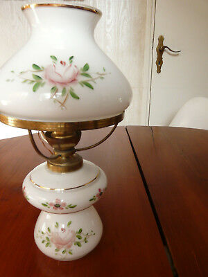 Pretty French Handblown Pale white  Opaline  décor pink roses
