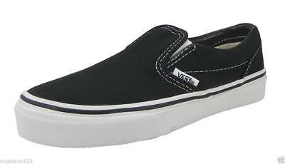VANS Classic Slip On Black White Canvas Slip Youths Boys Sneakers Kids 3.5  Shoes a61dcdff1