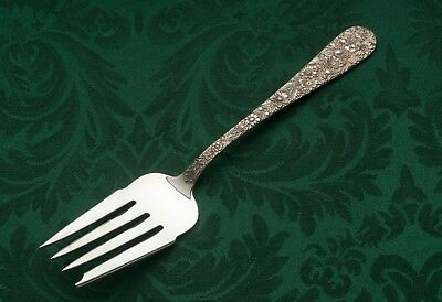 "Repousse by S Kirk & Son, Cold Meat Serving Fork, Sterling Silver 8 5/8"" mono C"