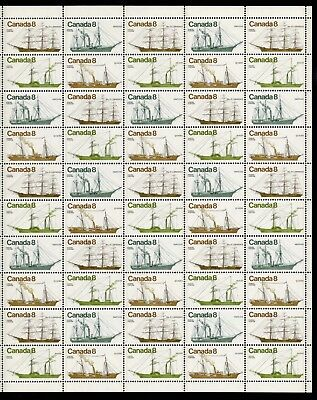Canada Stamp #670-73 Field Stock Sheet or Pane of 50 Stamps Coastal Vessels