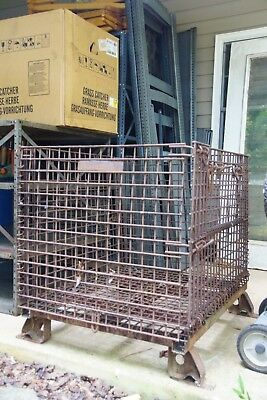 Antique Industrial Folding Steel Cage Bulk Cargo Shipping Container 31x39x36""
