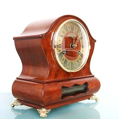 Vintage Dutch WARMINK WUBA Clock BIEDEMEIJER RARE Mantel HIGH GLOSS 2 BELL Chime