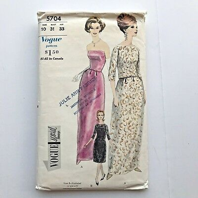 VTG 1960s Vogue 5704 Special Design Evening Dress Gown Petticoat Jacket Sz 10