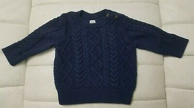 Boys Baby Gap Navy Blue Cable Knit Pullover Sweater Size 18- 24 Months
