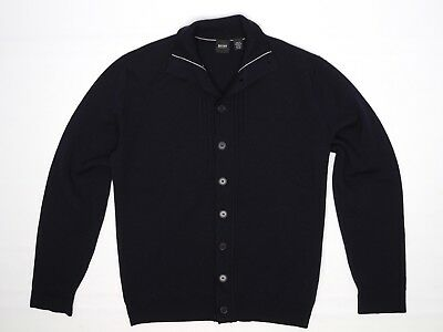 Hugo Boss Mens Cardigan Sweater M Odilius Solid Navy Blue Button Long Sleeve