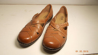 fe5a92e4865 New Clark s Bendables Women s Leather Slip On w Strap Loafer Tan Size 11  Wide