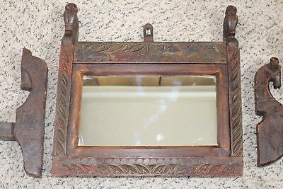 Antique Primitive Hand Carved Wood Mirror Candle Holders Wall Sconces Horse Head