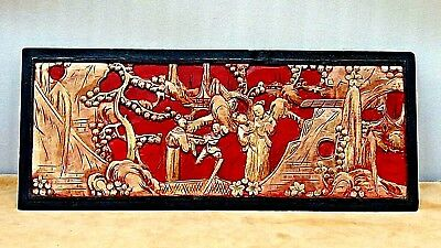 Antique Chinese Red-Black Carved Gilt Lacquered Panel Court Scene,Women&Children