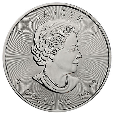 5 - 2019 Canadian Maple Leaf  $5.00 Coins - .9999 Pure Silver - BU - Protected