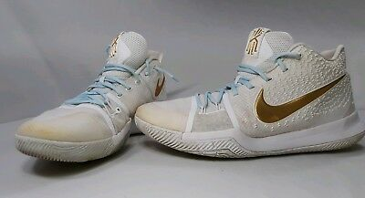 a79b1c0c693 Pre-on NIKE KYRIE 3 FINALS WHITE gold basketball shoes 852395-902 Size 14