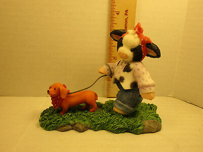 Mary's Moo Moos  Girl Walking A Dachshund Figurine 4001744