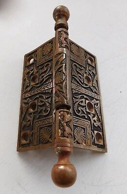 Vintage Antique cast Bronze Ornate Victorian Door Hinge Egyptian 4 X 4 inch