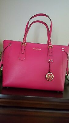 35122cf59b63 New wTags Michael Kors Voyager Leather Medium Top-Zip Tote Ultra Pink BRAND  NEW