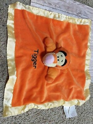 DISNEY TIGGER SECURITY BLANKET ORANGE YELLOW HEM CRINKLE EARS RATTLE LOVEY NEW